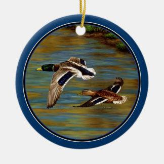 Mallard Ducks Flying Sky Blue Ceramic Ornament