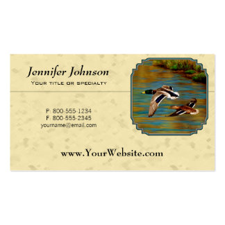 Mallard Ducks Flying Yellow Double-Sided Standard Business Cards (Pack Of 100)