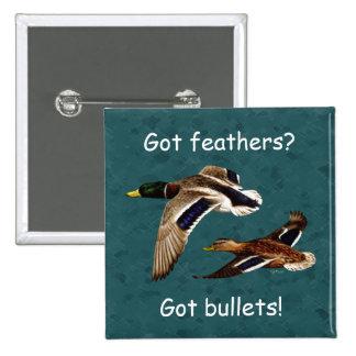 Mallard Ducks in Flight Teal Button