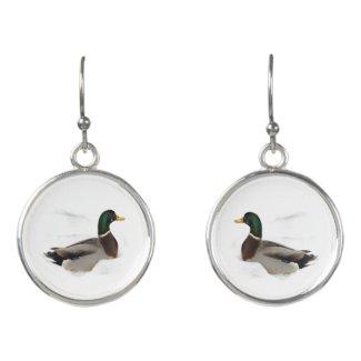 Mallard Ducks in Snow Bird Drop Earrings