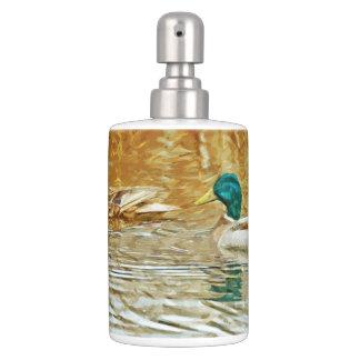 Mallard Ducks Swimming Abstract Impressionism Toothbrush Holder