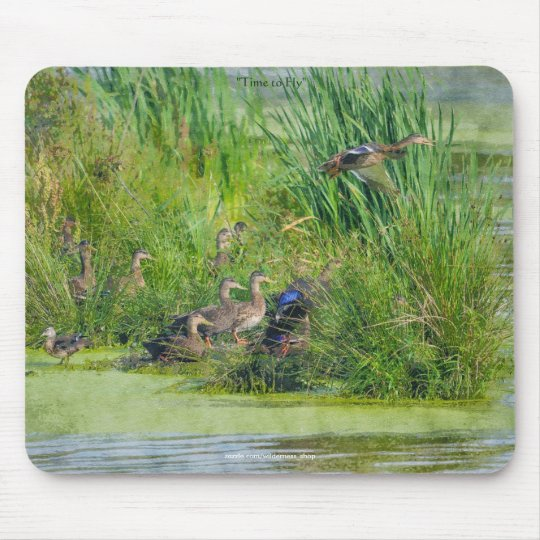 Mallard Ducks & Wetland Pond Wildlife Art Mousepad
