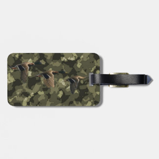 mallard ducks with camouflage background bag tag