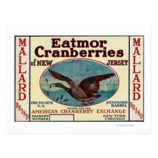 Mallard Eatmor Cranberries Brand Label Postcard