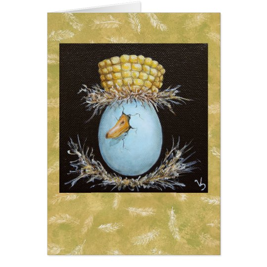 mallard egg with corn cob hat card