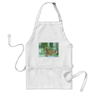 Mallard Female Swims through the Marsh, watercolor Adult Apron