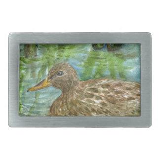 Mallard Female Swims through the Marsh, watercolor Belt Buckle