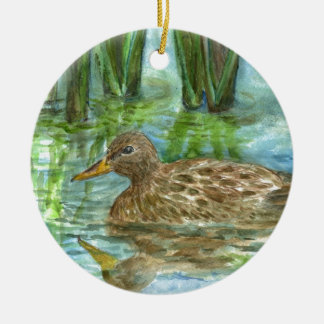 Mallard Female Swims through the Marsh, watercolor Ceramic Ornament