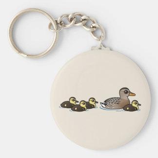 Mallard & four ducklings keychain