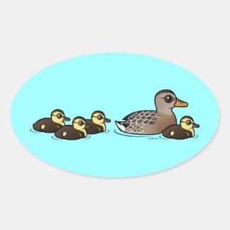Mallard & four ducklings oval sticker