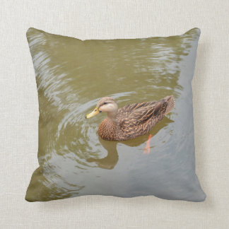 mallard hen in water duck animal feather bird throw pillow