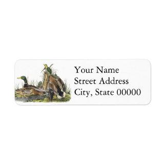 Mallard John Audubon Return Address Label