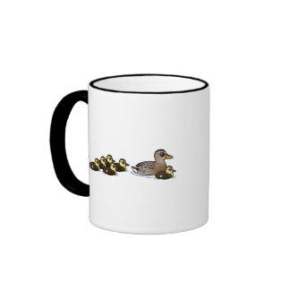 Mallard & seven ducklings ringer mug