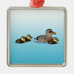 Mallard & three ducklings christmas tree ornament