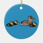 Mallard & three ducklings christmas tree ornaments
