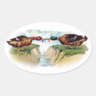 Mallard Tug of War Oval Stickers