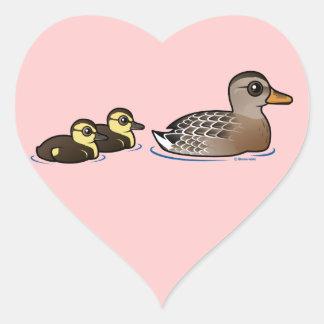 Mallard & two ducklings heart sticker