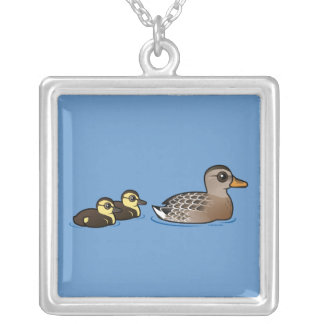 Mallard & two ducklings square pendant necklace