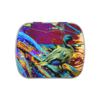 mallard type duck over colored design jelly belly candy tin