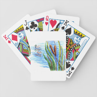 Mallards and Cattails - Watercolor Pencil Playing Cards