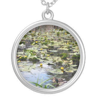 Mallards and Lilies Round Pendant Necklace
