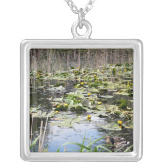 Mallards and Lilies Square Pendant Necklace