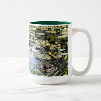 Mallards and Lilies Two-Tone Coffee Mug