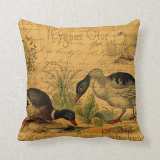Mallards and Swan Collage Throw Pillow