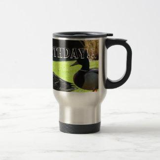 Mallards in the Grass; Happy Birthday Travel Mug