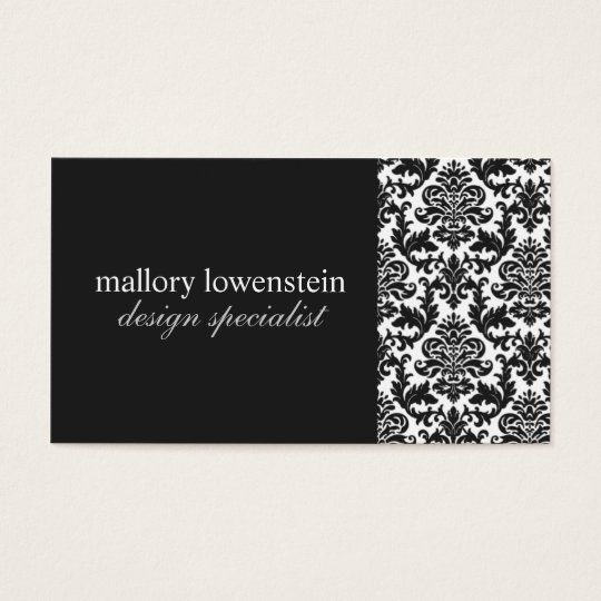 Mallory #2 Chic Black Damask Business Card