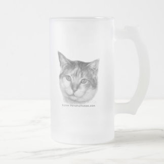 Mallory, Calico Cat Frosted Glass Beer Mug