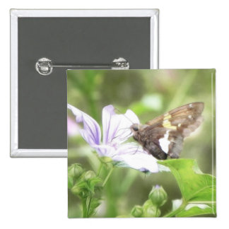Mallow Flower and Silver-Spotted Skipper Button