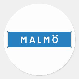 Malmo!, señal de tráfico sueca pegatina redonda