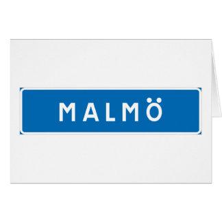 Malmo!, señal de tráfico sueca tarjeta de felicitación