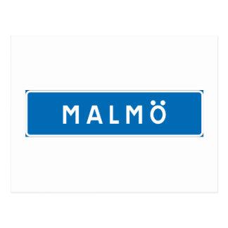 Malmo!, señal de tráfico sueca tarjetas postales