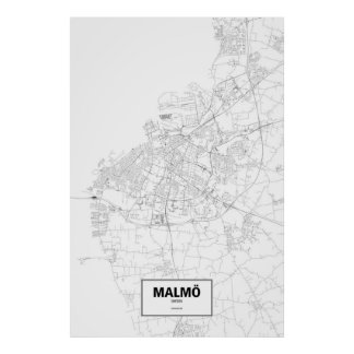 Malmö, Suecia (negro en blanco) Póster