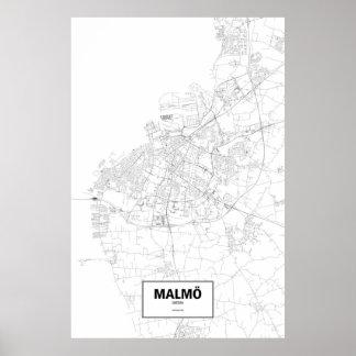 Malmö, Sweden (black on white) Poster