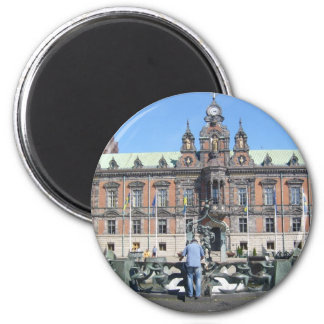 Malmö Sweden - City Hall 2 Inch Round Magnet