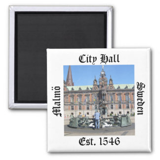 Malmö Sweden - City Hall 2 Inch Square Magnet