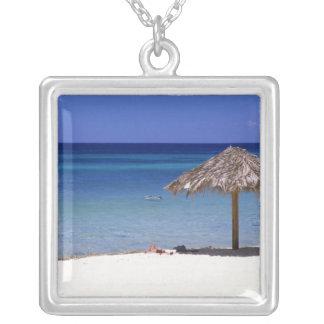 Malmok Beach, Aruba, Netherlands Antilles Square Pendant Necklace