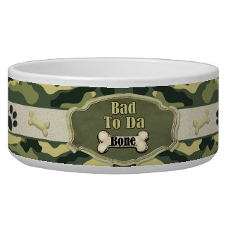 Malo al plato del perro de Camo del hueso de DA -  Bol Para Perro