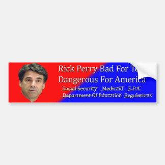 Malo de Rick Perry para la pegatina para el parach Pegatina Para Auto