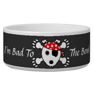 Malo del perro del pirata al cuenco comedero para mascota