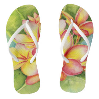 Malorie Arisumi plumeria watercolor slippers