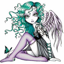 angel, butterfly, gothic, green, violet, tattoo, myka, jelina, fantasy, art, fine, malory, characters, Photo Sculpture with custom graphic design