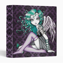 cute, angel, tattoo, fantasy, fairy, faerie, gothic, teal, purple, bourque, victorian, faery, myka, jelina, art, big, eyed, angels, Binder with custom graphic design