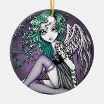 malory, angel, gothic, violet, tattoo, fairy, faery, fae, faerie, big, eyed, fantasy, art, myka, jelina, mika, angels, Ornament with custom graphic design