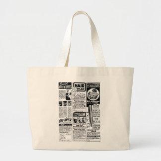 Malos anuncios de la revista del kitsch retro del  bolsa de tela grande