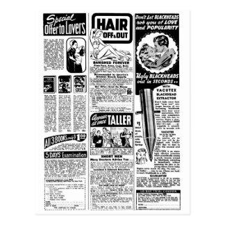 Malos anuncios de la revista del kitsch retro del tarjeta postal