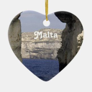 Malta Coast Double-Sided Heart Ceramic Christmas Ornament